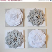 "MOTHERS DAY SALE Wall Decor -Set Of Four Gray and White Flower Wall Hangings 12 x12"" Canvases Flower Wall Art-"