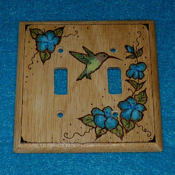 Rustic Double Decorative Wood Light Switch Plate Cover Burned Hummingbird Floral Hand Painted Outlet Cover