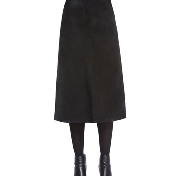 Long A-Line Suede Skirt, Size: 4, BLACK - Helmut Lang