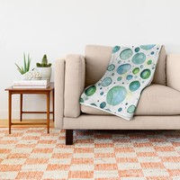 Bubbles Watercolor Throw Blanket by Doucette Designs