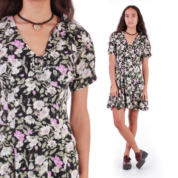 90s Floral Skater Dress Vintage Rampage Made in the USA Pink and Black Grunge Babydoll Courtney Love Clothing Womens Size Medium