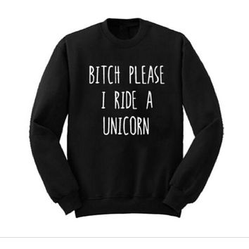 DCCKJ1A [PLEASE I RIDE A UNICORN] letter sweater long sleeve pullover
