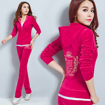 2016CN Free Shipping Women' Brand Velvet Tracksuits,Women Velours Suits, Tracksuits,sweatshirt Hoodies & Pants moletom