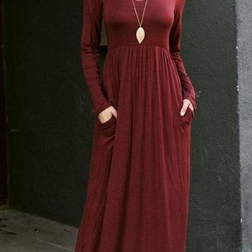 Ella Burgundy Long Sleeve Maternity Maxi Dress - RESTOCKED