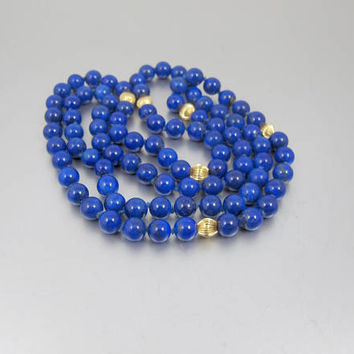 Vintage Lapis Gold Bead Necklace. 14K Natural Blue Lapis Lazuli Yellow Gold Ribbed Melon Bead Necklace. Opera Length Lapis Necklace.