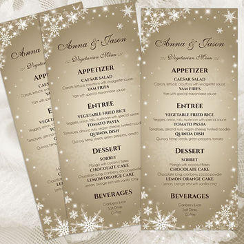 DIY Printable Wedding Menu Template | Editable MS Word file | 4 x 9.25 | Instant Download | Winter White Snowflakes Champagne Gold