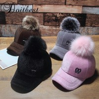 Trendy Winter Jacket 2017 Korean Child Hip Hop Baseball Cap Wool fur hair ball kids Winter Hat Boys Girls solid snapback Caps Parent-child caps AT_92_12