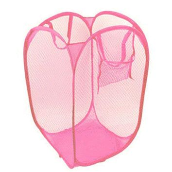 2016 New Foldable Pop Up Washing Clothes Laundry Basket Bag Hamper Mesh Storage
