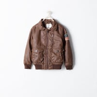 Aviator jacket with patch