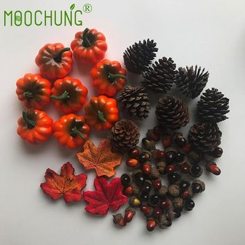 216pcs/set Artificial Silk Maple Leaves Christmas Pine Cones Ornament Plastic Acorn Halloween Pumpkin Kit For Home Wedding Party