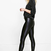Petite Sandi Matte Leather High Waist Leggings