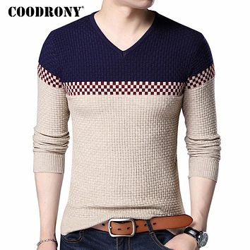 Autumn Winter Warm Wool Sweaters Casual Hit Color  Patchwork V-neck Pullover Men
