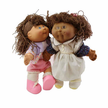 """2 BBF Hasbro Cabbage Patch Kids Dolls 14"""" First Edition Early 1990s XAVIER ROBERTS Brown Twisted Yarn Hair African American Hispanic Dolls"""