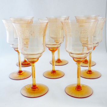 Vintage Fostoria,  Seville Etch #274 from 1926-33. Glasses, 8 Stem Water  Glasses, Stemware