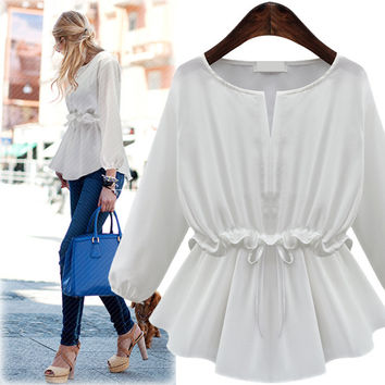 White Bishop-Sleeve Tie Waist Ruffle Blouse
