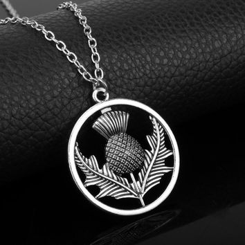 Outlander Scottish National Flower Necklace Fashion Jewelry Women Accessories Charms pendant necklace Choker bijouterie