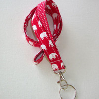 Lanyard Id Holder Key Leash badge holder - fabric red white elephants red dots