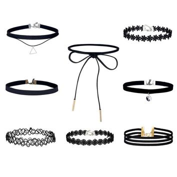 8 Pcs /Set Black Lace Velvet Chokers Necklace For Women Harajuku Ribbons Necklaces Charms jewelry