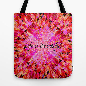 LIFE IS BEAUTIFUL Bold Pink Bird Feathers Ocean Waves Painting Sea Romantic Love Girlie Abstract Tote Bag by EbiEmporium