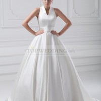 V Neck Satin Ball Gown with Sweep Train