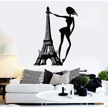Vinyl Wall Decal Paris Woman Eiffel Tower Fashion Girl Room Stickers Unique Gift (ig4363)