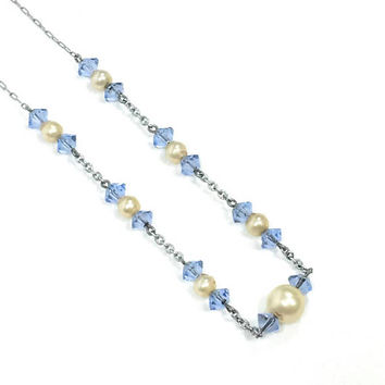 Blue Crystal & Pearl Necklace, Thin Crystal Necklace, Silver Paper Clip Chain, 1930s 1940s, Wedding Vintage Jewelry