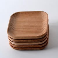 The New Year wooden tableware feeder Beech wood plate wood consolidation wooden square plate of 12.8 cm