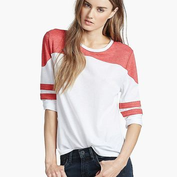 Lucky Brand Varsity Raglan Tee Womens - Red/White