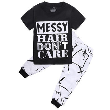 2pcs Toddler Kids Baby Girls Children Summer Sets Letter Printing Short T-shirt Tops+Long Graffiti Pants Outfit Clothes Sets