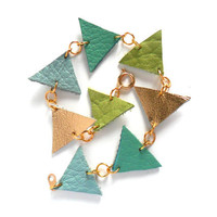 Pastel blue, greens and gold large triangles leather bracelet