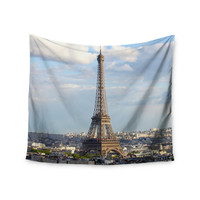 "Philip Brown ""Eiffel Tower"" Gold Black Wall Tapestry"