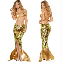 Sexy Golden Mermaid Costume for Women Adult Halloween Fancy Party Cosplay Dress