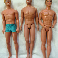Lot of 3 Hunky Barbie Ken & BIG STEP Dolls Vintage Nice Condition Mattel Hasbro Circa 1970 to 1990s Its Raining Men