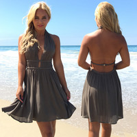 Oasis Halter Dress In Olive