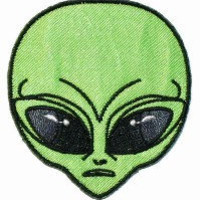 Green Alien UFO Head Iron On Applique Patch