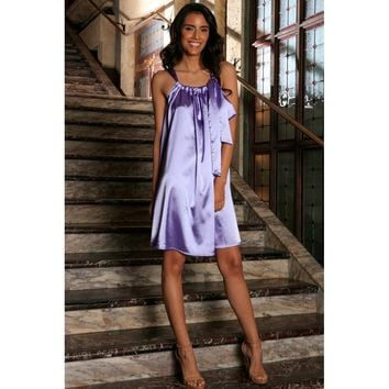 Lavender Charmeuse Halter Swing Spring Summer Party Dress - Women