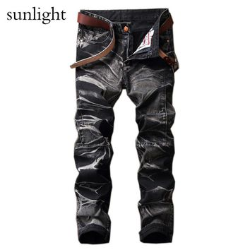 Jeans Dark Color Frayed Hole Destroyed Rippe Jeans Men Casual Pants Denim Slim Fit Biker Jeans Hiphop Jeans SIZE