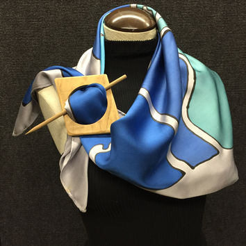 Silver Blue's - Hand Painted Silk Scarf