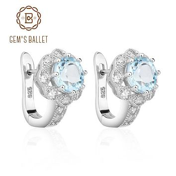 Gem's Ballet Natural Sky Blue Topaz Gemstone Earrings Genuine 925 Sterling Silver For Women Gorgeous Fine Jewelry