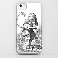Vintage Alice in Wonderland flamingo croquet antique book drawing emo goth illustration art print iPhone & iPod Case by iGallery