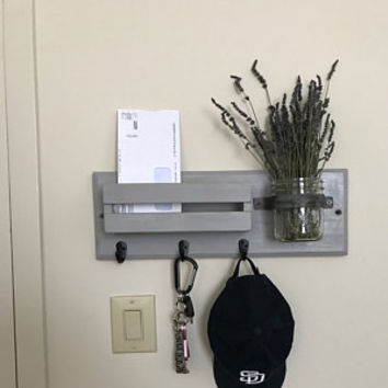 Entryway Organizer, Mail Organizer, Rustic Home Decor, Dog Leash Holder, Key Holder, Mail Holder, Key Hook, Key Rack, Mason Jar
