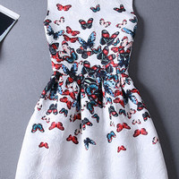 White Butterfly Print Jacquard Skater Dress