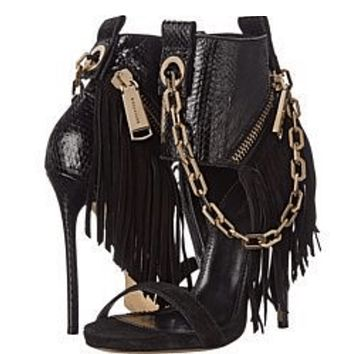 Party Black Leather Chain Fringe Sandals