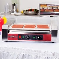 Hot Dog Roller 24 Roller Grill with 9 Rollers & Cover - 110V, 1350W Commercial Use