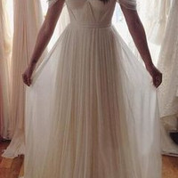 Off Shoulder Prom Dresses,White Simple Prom Dress,Evening Dresses