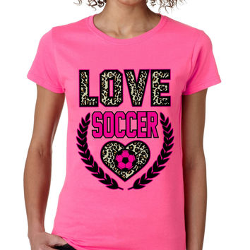 Love Soccer Leopard womens T-Shirts