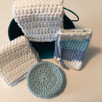 Crochet Spa Bath Set - 6 Items - Blue - White - Gift Set - Cotton - Handmade