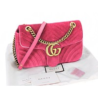 GUCCI Fashion Women Shopping Leather Velvet Handbag Tote Crossbody Satchel Shoulder Bag Rose Red
