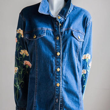 Bob Mackie Denim Shirt  | Wearable Art | Bob Mackie Collectible | Embroidered Denim | Floral Embroidery | Embroidered Denim Shirt |