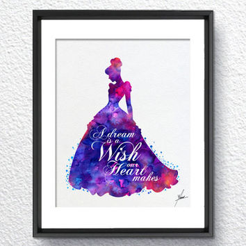 Cinderella Disney inspired Princess Watercolor Print Archival Fine Art Print Children Wall Art Wedding Gift Home Decor Wall Hanging Item 311